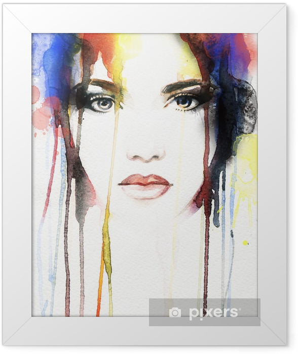 woman portrait .abstract watercolor Framed Poster - People