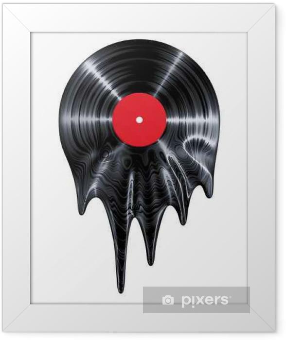 Plakat w ramie Melting płyta winylowa / 3D czynią z winylu rekord topienia - Hobby i rozrywka