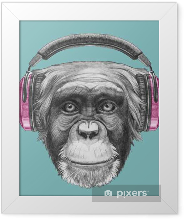 Portrait of Monkey with headphones. Hand drawn illustration. Framed Poster - Animals