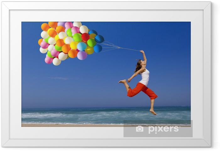 Plakat w ramie Skok z balonami - Pory roku