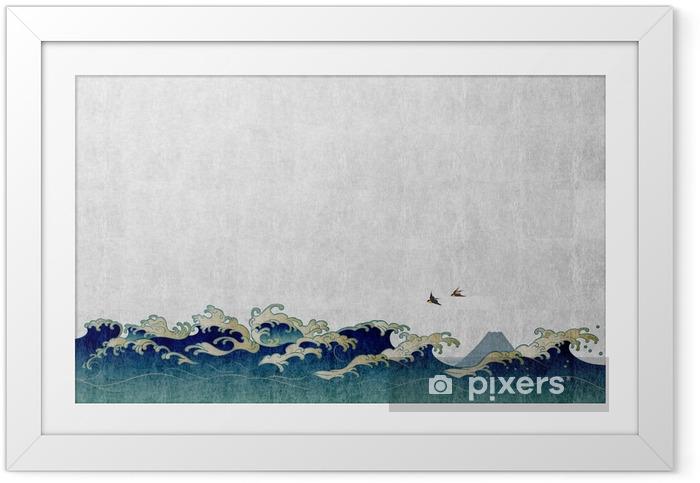 Plakat w ramie 和風 背景 素材 大 波 と 渡 り 鳥 - Krajobrazy