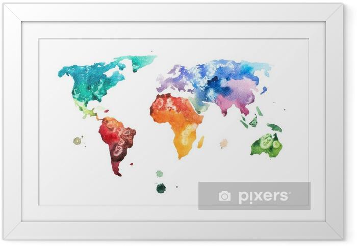 Ingelijste Poster Hand getekende aquarel wereldkaart aquarelle afbeelding. - Hobby's en Vrije tijd