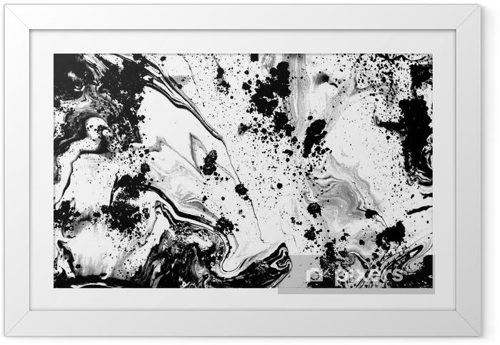 Ingelijste Poster Zwart-wit abstracte achtergrond. Vloeistof marmer patroon. zwart-wit textuur - Grafische Bronnen