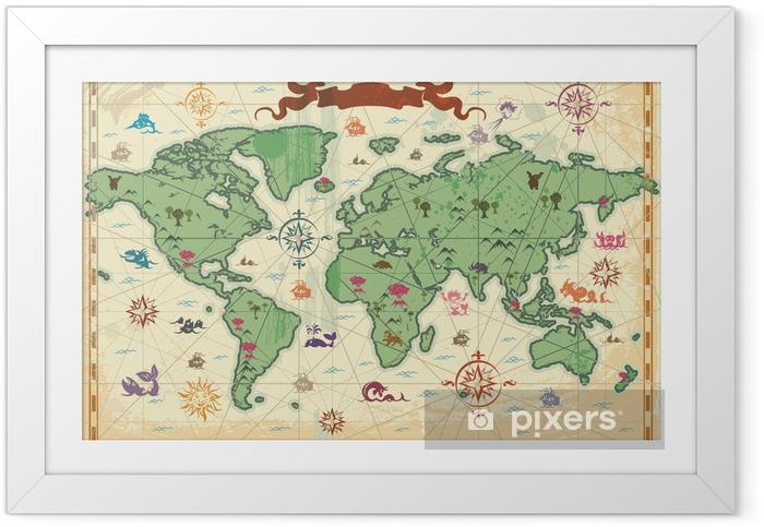 Värikäs antiikin maailman kartta Kehystetty juliste - Themes