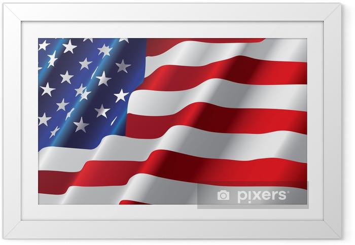 Poster i Ram Vektor amerikanska flaggan - Nationsflaggor