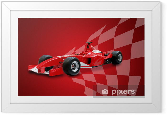 Poster en cadre Formule une voiture rouge et un drapeau de course - Thèmes