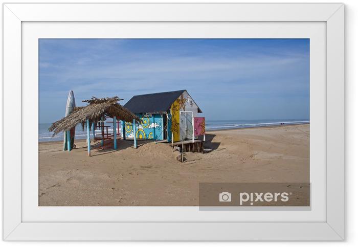 Plakat w ramie Cabana z deska surfingowa - Sporty wodne