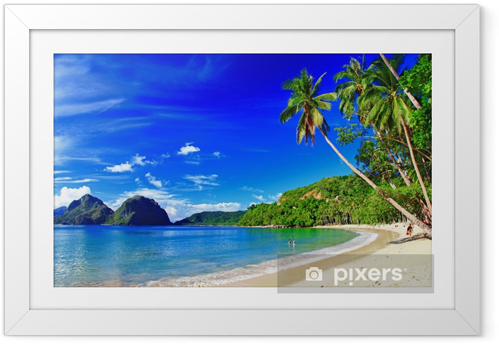 Ingelijste Poster Panoramisch prachtig strand landschap - El-Nido - Thema's