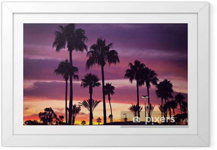 Poster en cadre Palmiers et coucher de soleil - Palmiers