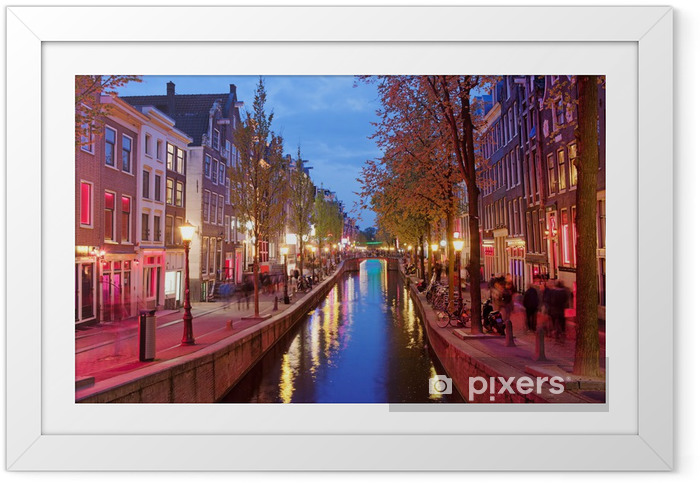 Red Light District i Amsterdam Indrammet plakat -