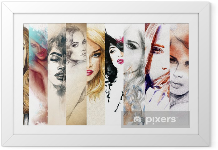 Poster en cadre Beau visage de femme. illustration d'aquarelle - Mode