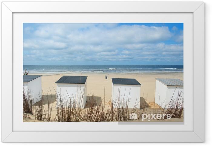 Ingelijste Poster Blauw strand hutten op Texel - iStaging