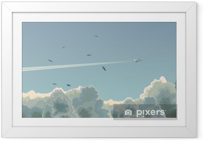 Ingelijste Poster Horizontale afbeelding van vlak onder de wolken. - Thema's