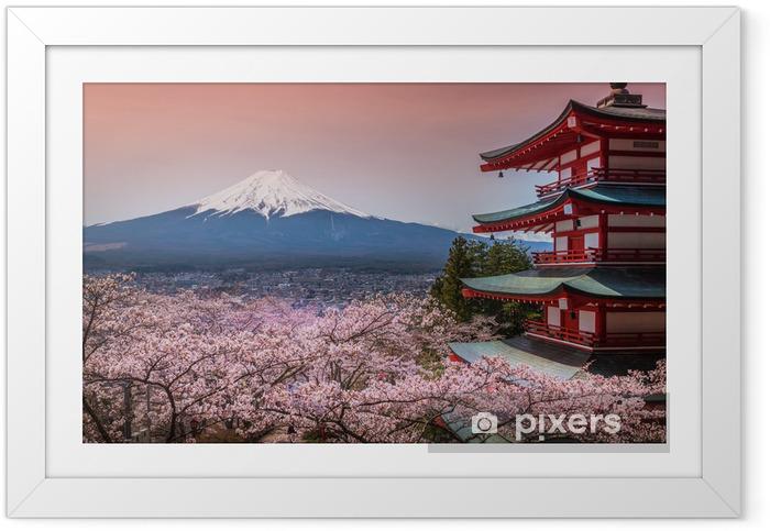 Póster Enmarcado Chureito Pagoda con sakura - Asia