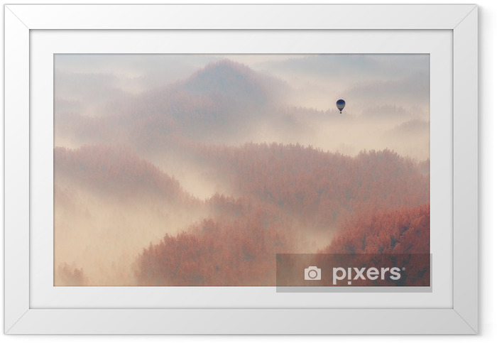 Ingelijste Poster Aerial of misty autumn pine tree forest with hot air balloon. - Lucht