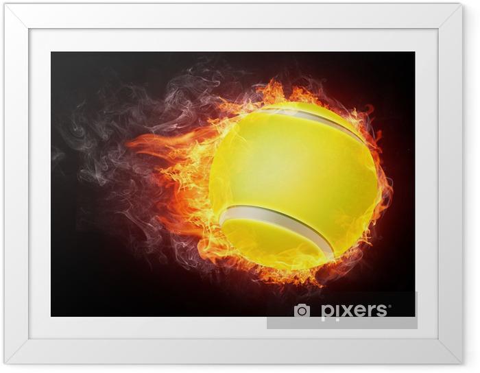 Plakat w ramie Piłka tenisowa w ogniu - Tenis