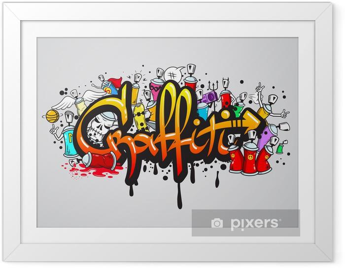 Poster i Ram Graffiti tecken komposition trycket -