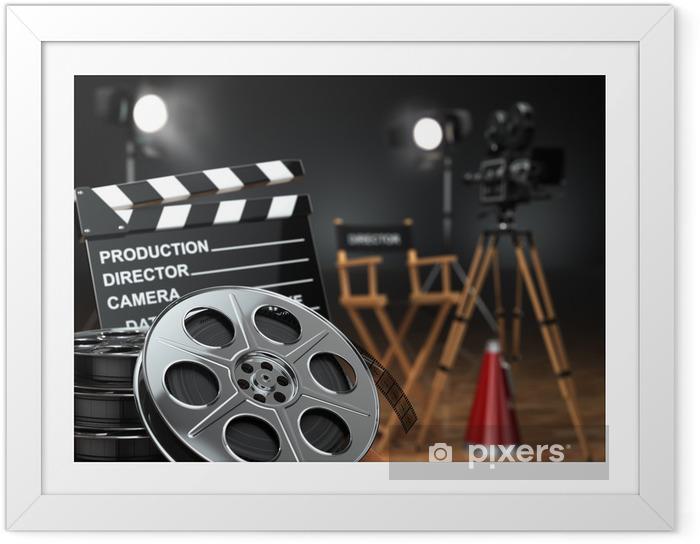 Plakat w ramie Wideo, film, koncepcja kina. Aparat retro, kołowrotki, Klaps - Tematy