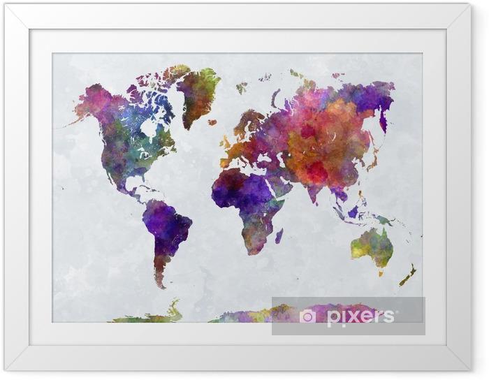 Ingelijste Poster Wereldkaart in watercolorpurple en blauw -
