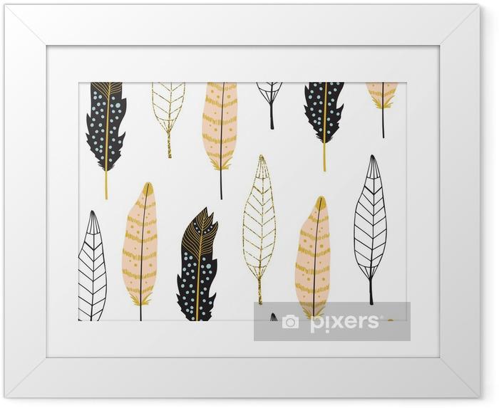 Plakat w ramie Ręcznie rysowane Pióra Seamless Pattern - Zasoby graficzne