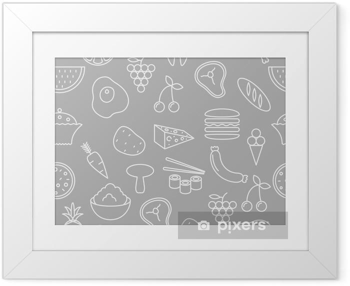 Poster en cadre Ligne mince icônes seamless pattern. Alimentaires, légumes et fruits icon fond gris pour des sites Web, des applications, des présentations, des cartes, des modèles ou des blogs. - Ressources graphiques
