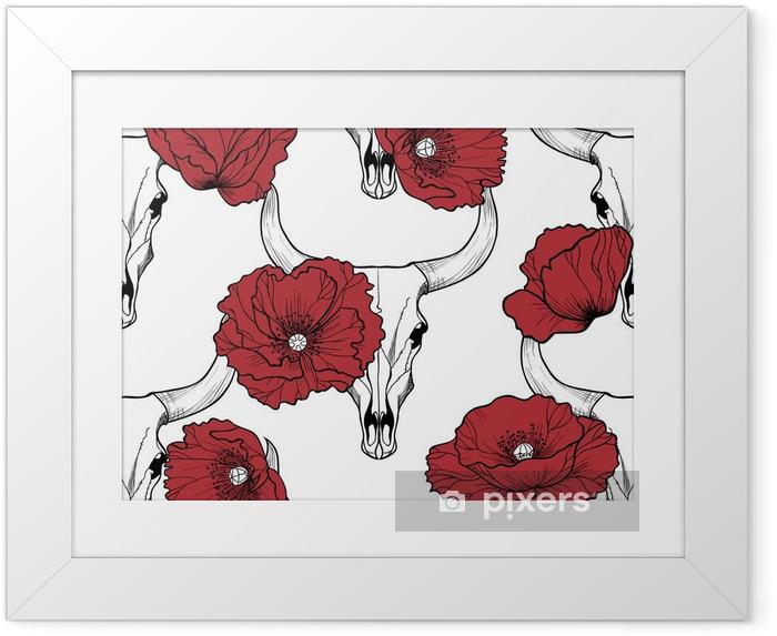 Poster in Cornice Bull cranio e di papavero fiori su sfondo seamless rosso vettore - Fiori