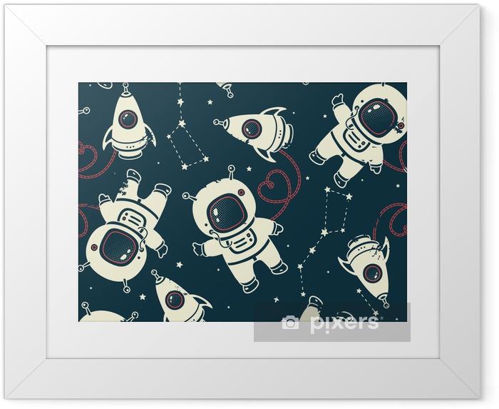 Ingelijste Poster Vector kosmonaut naadloos patroon - Wetenschap