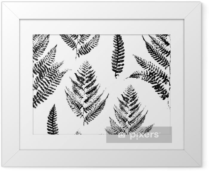 Çerçeveli Poster Eğrelti yaprakları boya baskılar Seamless pattern - Endüstriyel