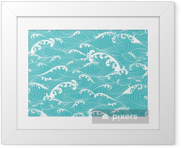 Valtameri aallot, raidat kuvio saumaton käsin piirretty aasialainen tyyli Kehystetty juliste - Graafiset Resurssit