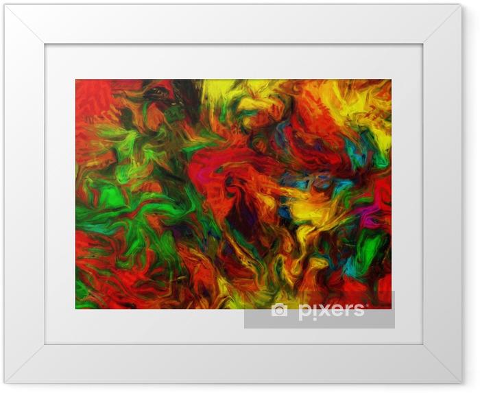 Ingelijste Poster Kleurrijk abstract schilderij - Grafische Bronnen