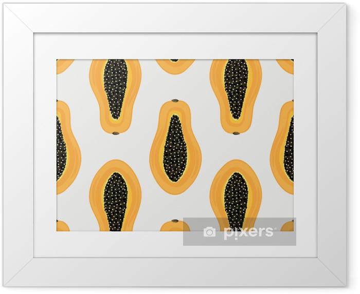 Çerçeveli Poster Tropikal meyveler ile seamless modeli. sağlıklı tatlı meyveli arka plan carica papaya. egzotik yemek. kağıt ambalaj, giysi, duvar kağıdı, yaz afiş üzerine baskı. vektör çizim, eps10 - Yiyecek