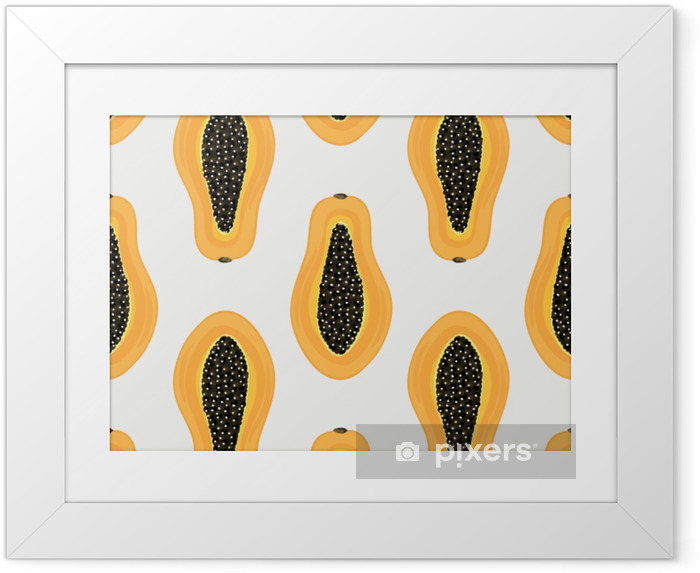 Seamless pattern with tropical fruits. Healthy dessert. Fruity background. Carica papaya. Exotic food. Wrapping paper, print on clothes, wallpaper, summer banner. Vector illustration, eps10 Framed Poster - Food