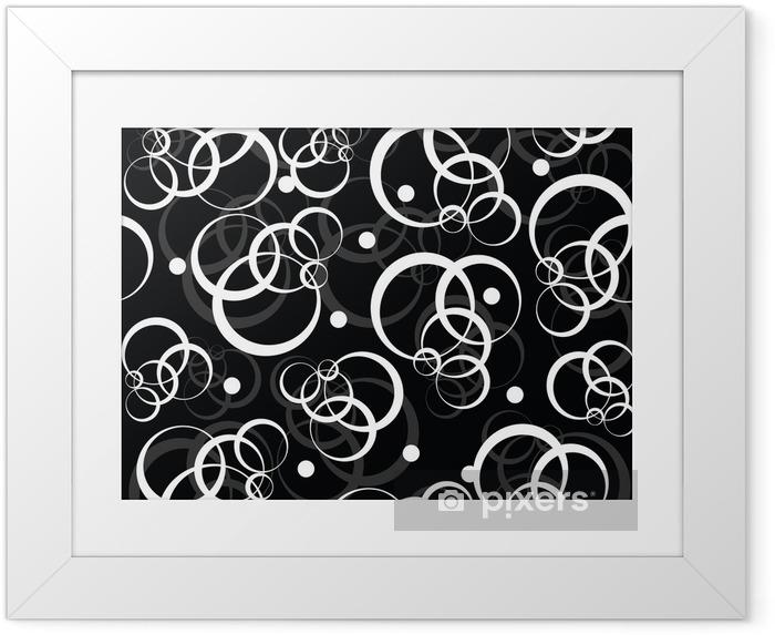 Poster en cadre Patterm avec des cercles blancs sur fond noir -