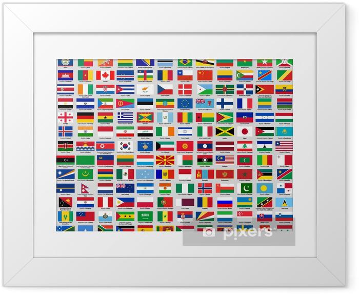 Ingelijste Poster Vlaggen van soevereine staten - Tekens en Symbolen