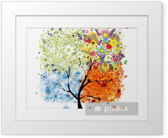 Ingelijste Poster Vier seizoenen - lente, zomer, herfst, winter. Kunst boom - Muursticker