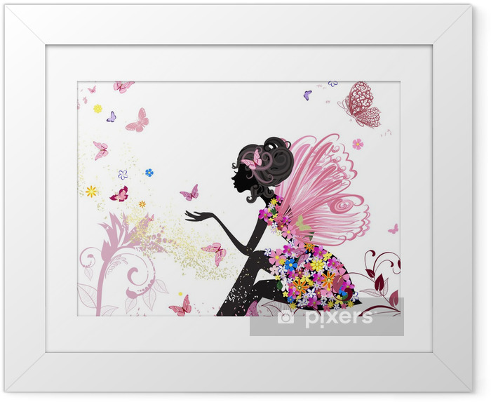 Plakat w ramie Flower Fairy w otoczeniu motyli - Style