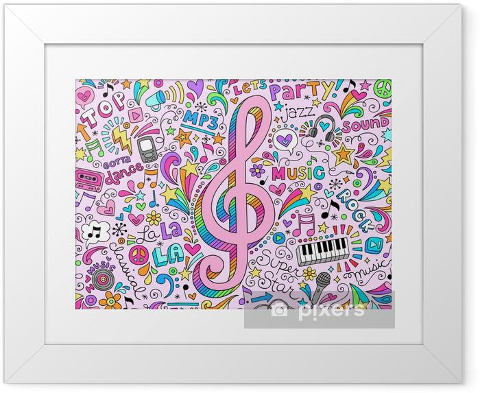Poster en cadre Notes de musique g Clef Groovy Doodles Vector Illustration - Rock
