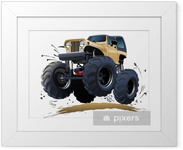 Ingelijste Poster Cartoon Monster Truck - Onderweg