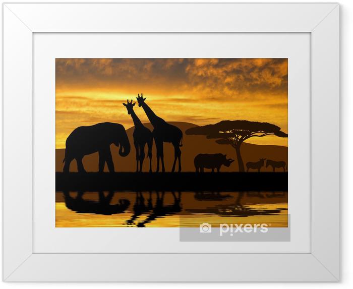 Poster en cadre Éléphant Silhouette, girafes, rhinocéros et les zèbres dans le coucher du soleil - Thèmes