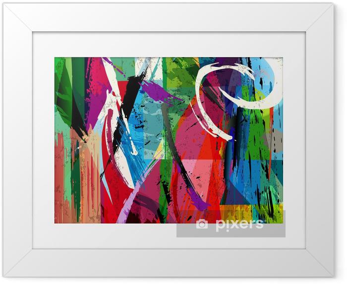 Ingelijste Poster Abstracte achtergrond samenstelling, met verfstreken, spatten een -