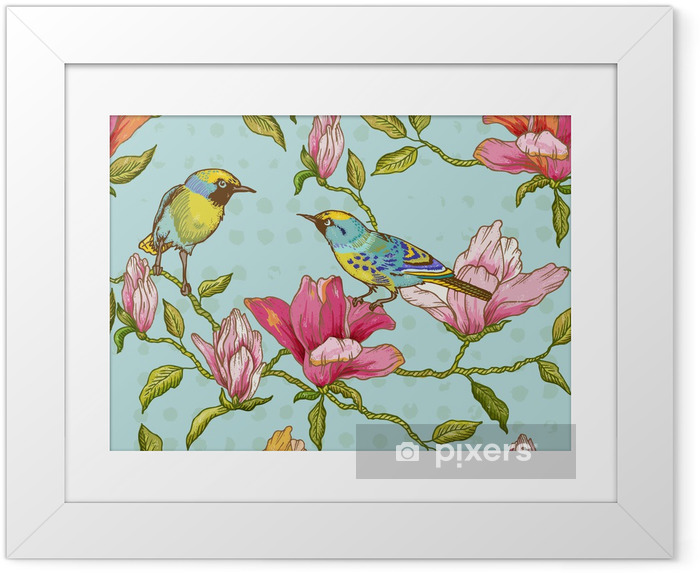 Ingelijste Poster Uitstekende Naadloze Achtergrond - Bloemen en Vogels - Seizoenen