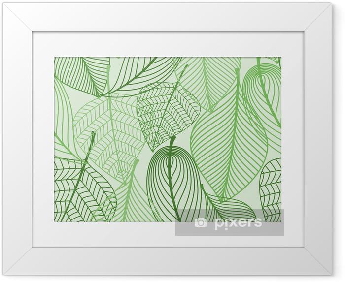 Plakat w ramie Zielone liście bezszwowe tło wzór - Style