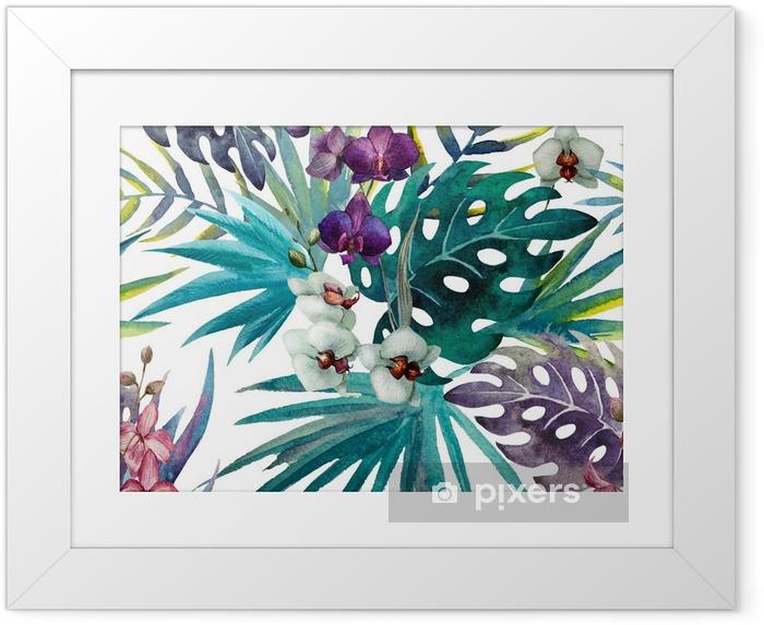 Ingelijste Poster Patroon met bladeren van de orchidee hibiscus, waterverf - iStaging