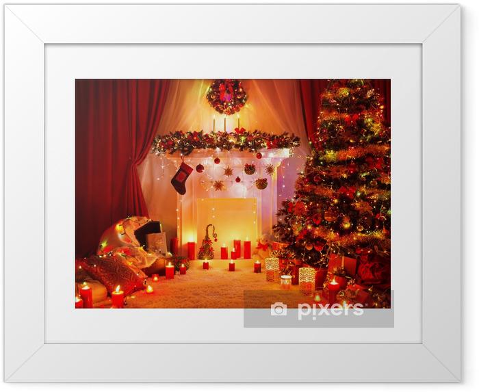 Poster en cadre Chambre d'arbre de Noël Cheminée Lights, Décoration d'intérieur - Fêtes internationales