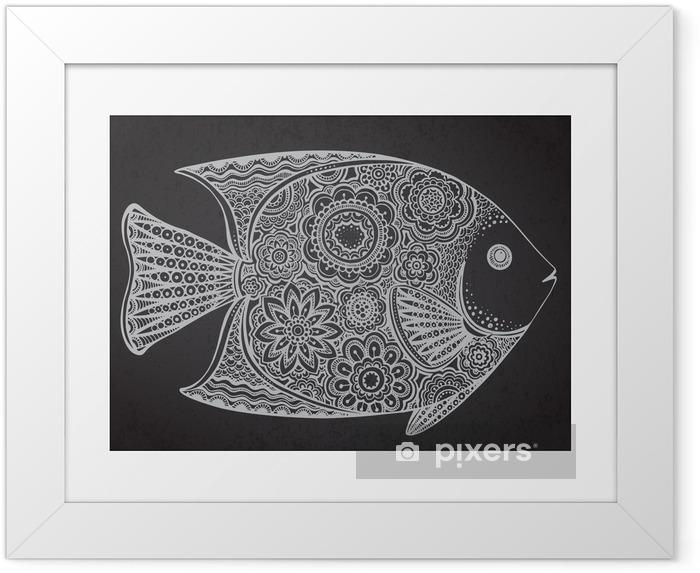 Ingelijste Poster Hand getrokken vissen met bloemen elementen - Dieren