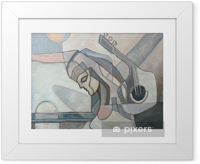 Póster Enmarcado Pintura abstracta con la mujer y la guitarra - Hobbies y entretenimiento
