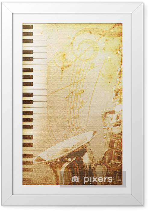 Plakat w ramie Stary papier jazz - Muzyka