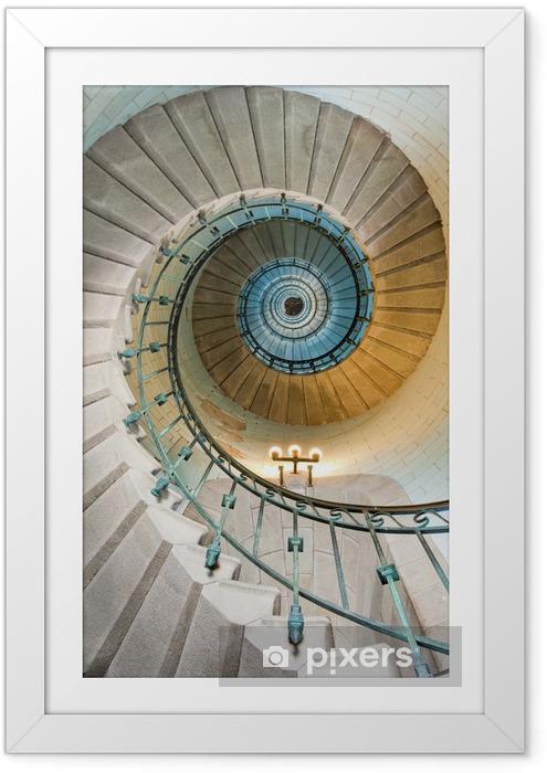 Ingelijste Poster Mooie vuurtoren trap -
