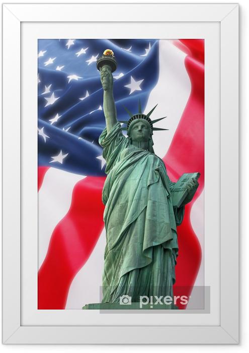 Poster i Ram NY Frihetsgudinnan mot en flagga av USA - Monument