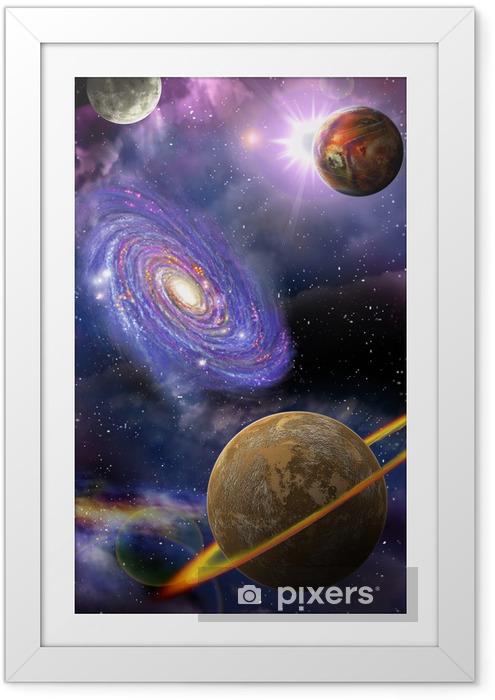 Galakser og planeter i rummet Indrammet plakat -